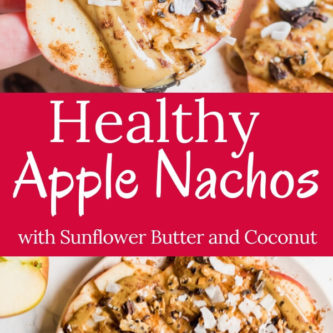 Healthy Gluten Free, Vegan, Paleo Apple Nachos! Sliced apples topped with creamy sunflower seed butter, cinnamon, coconut, and crunchy seeds,  the perfect fall treat! A healthy after-school snack or mid-morning break that takes less than 5 minutes to put together.