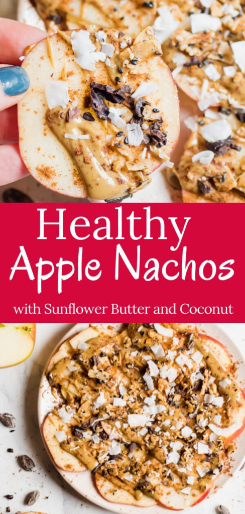 Healthy Gluten Free, Vegan, Paleo Apple Nachos! Sliced apples topped with creamy sunflower seed butter, cinnamon, coconut, and crunchy seeds,the perfect fall treat! A healthy after-school snack or mid-morning break that takes less than 5 minutes to put together.