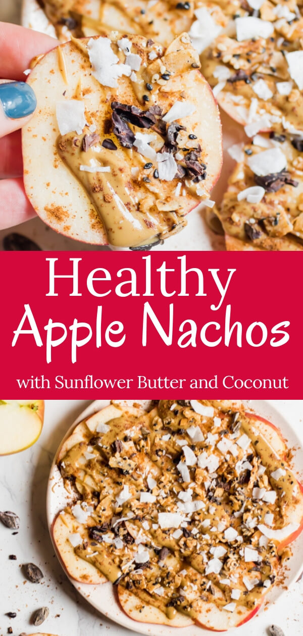 Healthy Gluten Free, Vegan, Paleo Apple Nachos! Sliced apples topped with creamy sunflower seed butter, cinnamon, coconut, and crunchy seeds,  the perfect fall treat! A healthy after-school snack or mid-morning break that takes less than 5 minutes to put together. #apple #healthysnack #paleo #keto #glutenfree #vegan