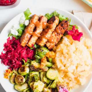 Buttery mashed rutabaga and turnips topped with easy BBQ tempeh, roasted Brussels sprouts, and a sweet and spicy beet relish. This vegan meal prep lunch will have your taste buds doing the happy dance!