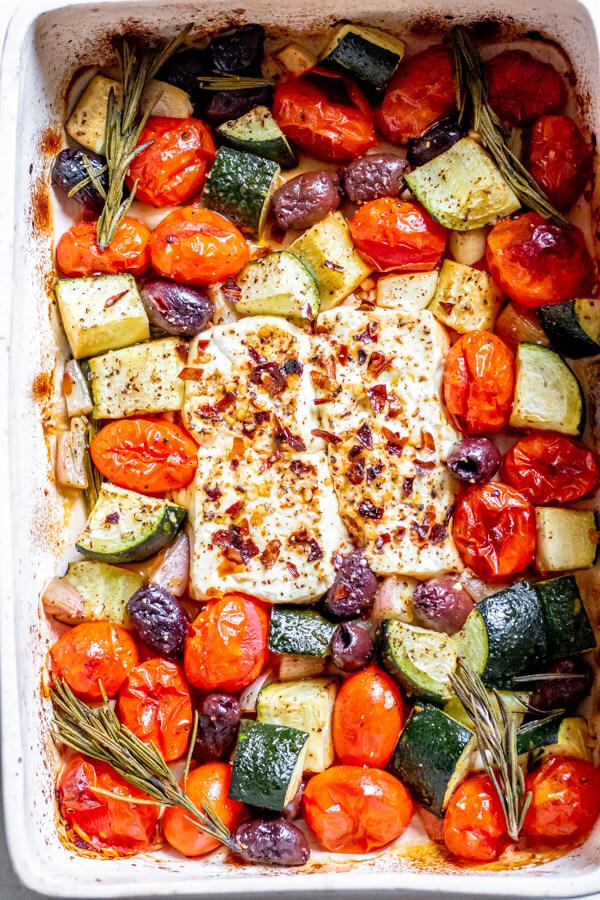 baked feta, veggies, and olives