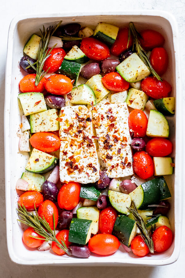 Baked Feta and veggie in a casserole