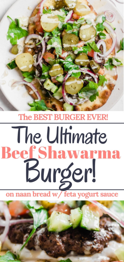 Shawarma spiced grass-fed beef burger grilled to perfection and layered on toasted naan bread with a yogurt feta cheese sauce, and a ton of veggie toppings. Epic is the most accurate word to describe this burger experience :-)