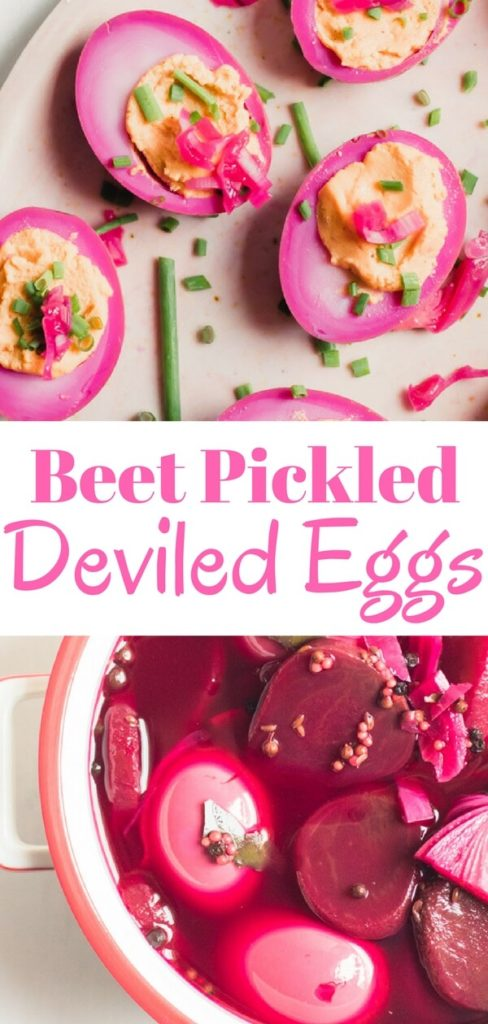 An easy delicious recipe for gorgeous beet pickled deviled eggs. Traditional pickled eggs turned into mouthwatering deviled eggs. The perfect healthy snack or delicious appetizer for a crowd.