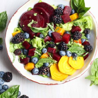 The freshest seasonal ingredients create a beet salad with berries and avocado basil vinaigrette. Vegan, gluten free, paleo, Whole30. |abraskitchen.com