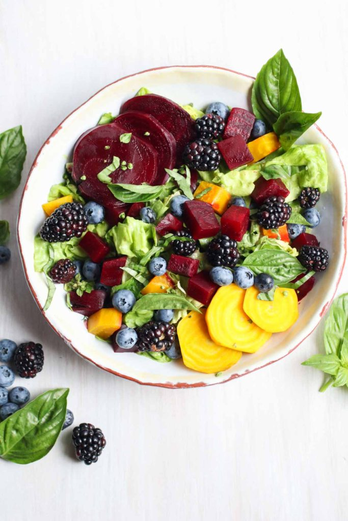 The freshest seasonal ingredients create a beet salad with berries and an avocado basil vinaigrette. Vegan, gluten free, paleo, Whole30. |abraskitchen.com