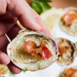 The easiest clams casino recipe using only 5 ingredients and one sheet pan. The perfect elegant appetizer to serve at a party or a quick light meal for a busy weeknight.