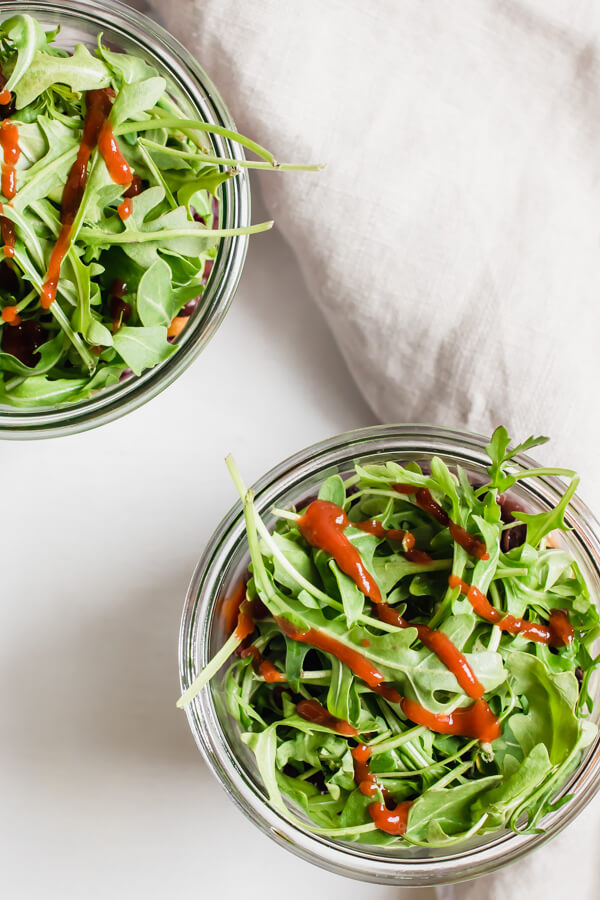 Black Bean and Butternut Squash Jar Salads in clear mason jar