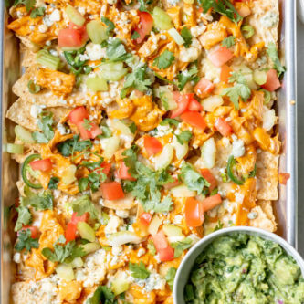 Finished product of Healthier Buffalo Chicken Sheet Pan Nachos