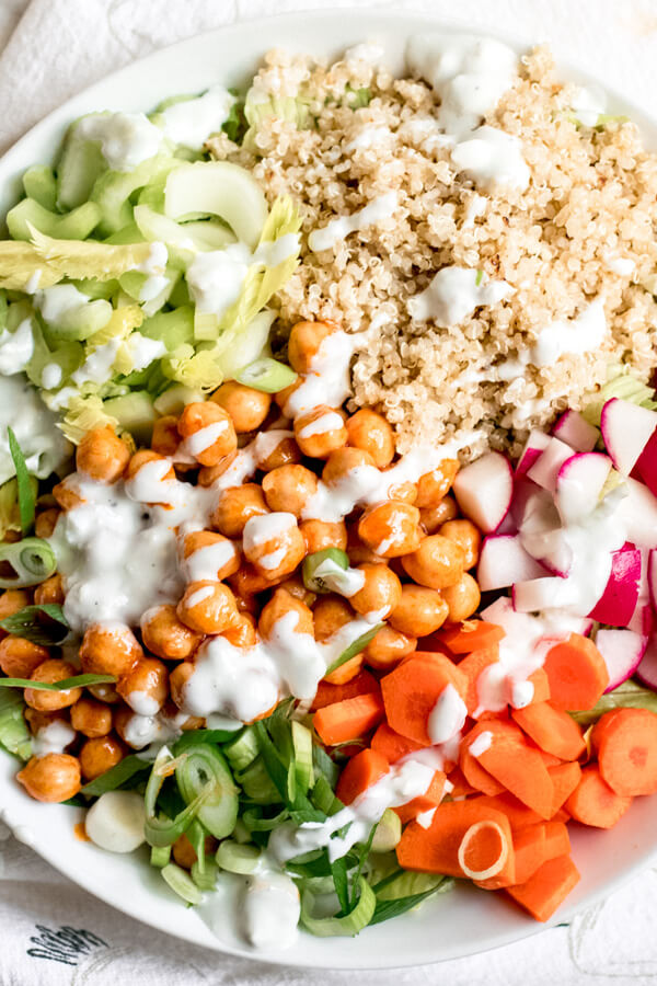 Buffalo Chickpea Jar Salad with Creamy Yogurt Blue Cheese Dressing