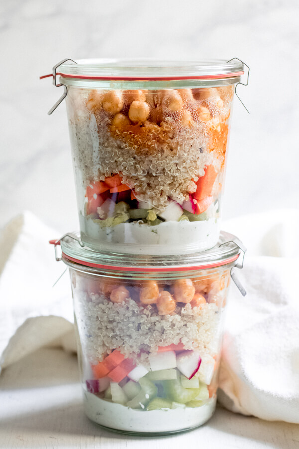 Buffalo Chickpea Jar Salad Crunchy veggies, super healthy and delicious