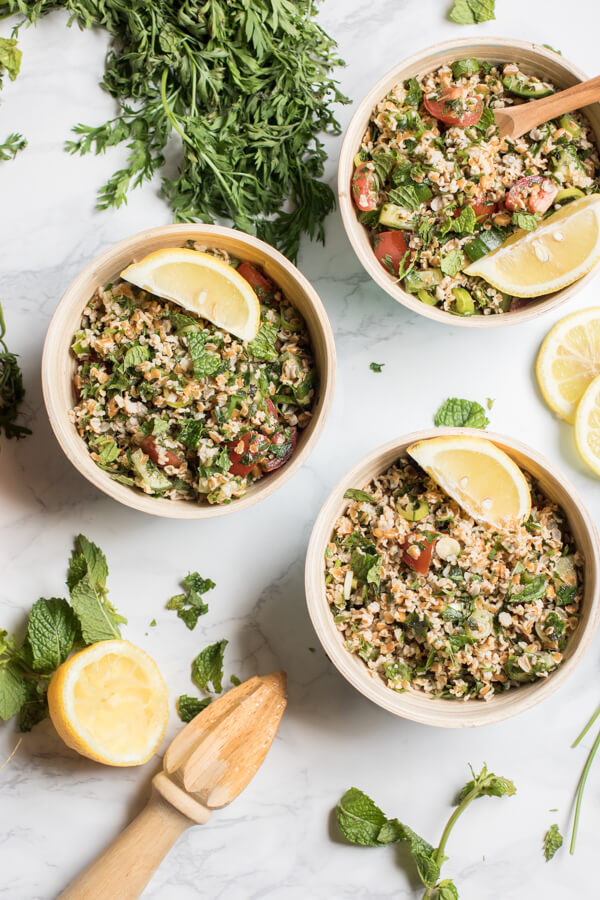 A light refreshing salad filled with fresh herbs and veggies, and heart healthy bulgur. Carrot top tabouli is my favorite summer lunch. Vegan, Plant Strong! |abraskitchen.com