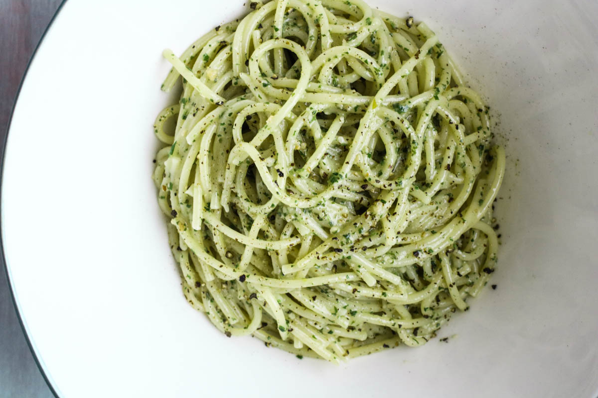 A must-have recipe in your repertoire. Peppery basil, sharp pecorino romano cheese, earthy and salty pine nuts, and good olive oil. Perfect for pasta, bruschetta, polenta, or as a sandwich spread.
