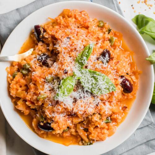 10 Minute Cauliflower Rice Puttanesca Abras Kitchen