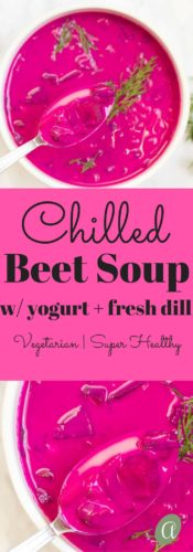 Light and refreshing this creamy chilled beet soup is a real summertime treat! Vegetarian, Healthy, Seasonal |Abraskitchen.com