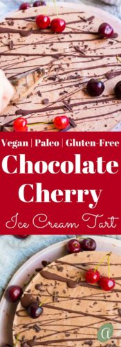 Chocolate Covered Cherry Ice Cream Tart, 8 simple real food ingredients. So good you might cry. Paleo/Gluten-free/Vegan |abraskitchen.com