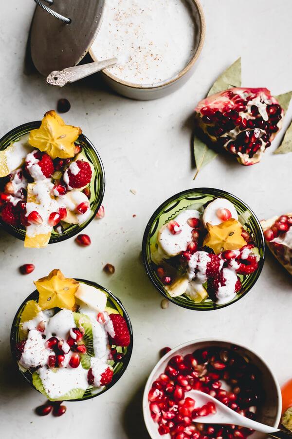 Christmas Fruit Salad with Egg Nog Sauce