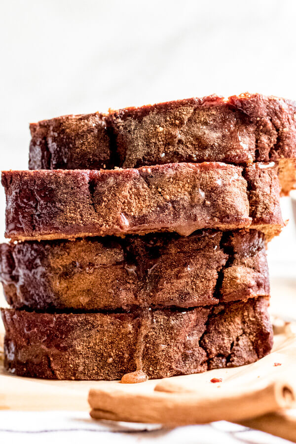 Cinnamon sweet potato bread slices