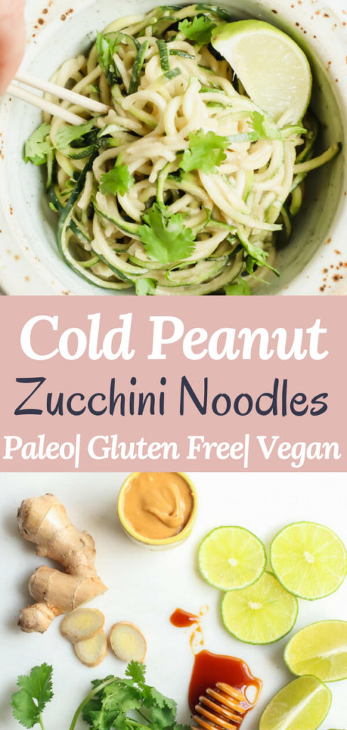 A healthy and delicious recipe for cold peanut zucchini noodles. Only 7 simple ingredients, no cooking required! Just whisk together the most delicious wholesome peanut sauce and toss in some zucchini noodles. Gluten free, paleo, vegan, whole 30 healthy lunch, dinner, or quick snack!