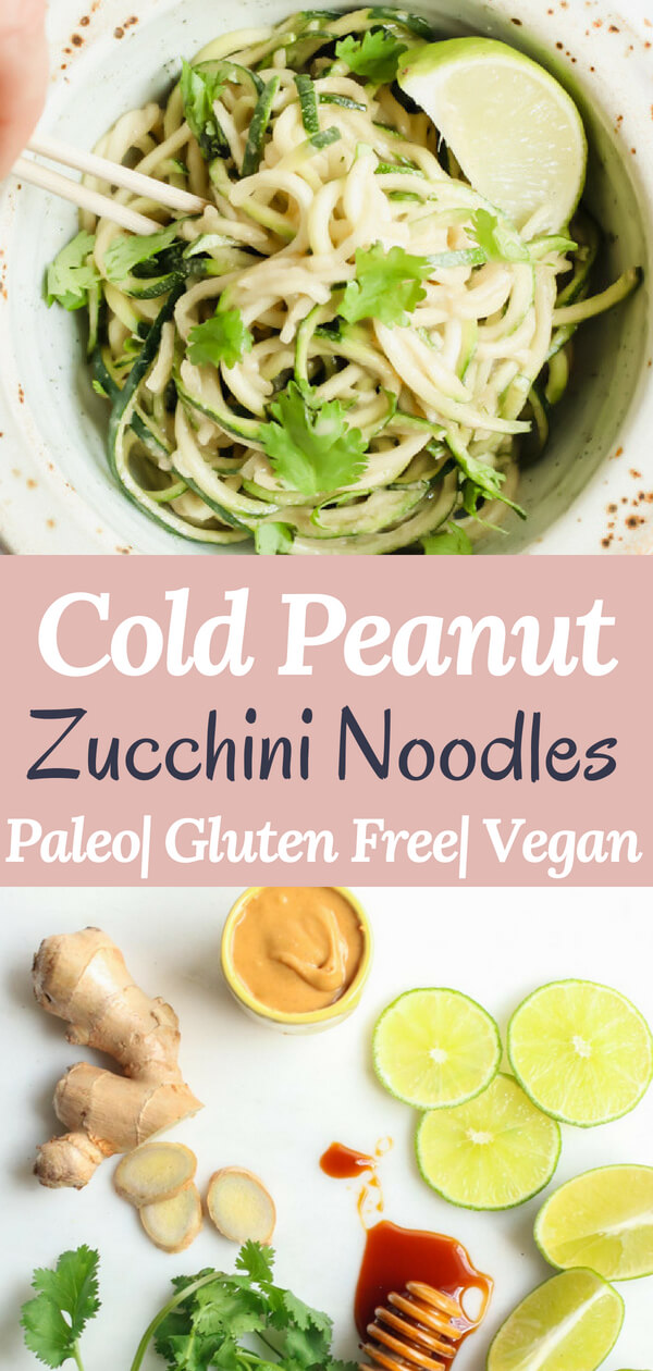 A healthy and delicious recipe for cold peanut zucchini noodles. Only 7 simple ingredients, no cooking required! Just whisk together the most delicious wholesome peanut sauce and toss in some zucchini noodles. Gluten free, paleo, vegan, whole 30 healthy lunch, dinner, or quick snack! Zucchini noodles/ peanut zucchini noodles/ peanut noodles/ sesame noodles/ healthy lunch/ healthy peanut noodles/ #glutenfree #paleo #vegan