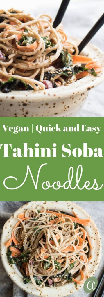 Cold Soba Noodles with Swiss Chard and Carrots in an Orange Tahini Sauce. Vegan, Quick and Easy. |abraskitchen.com