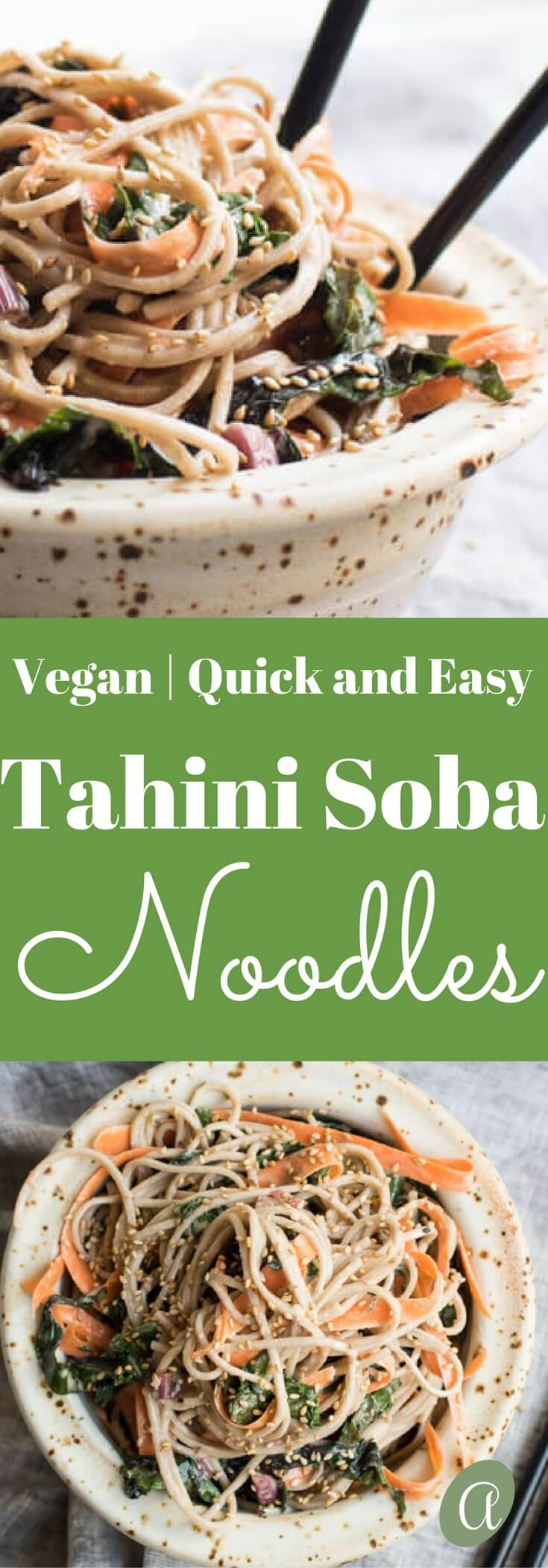 Cold Soba Noodles with Swiss Chard and Carrots in an Orange Tahini Sauce. Vegan, Quick and Easy. #sobanoodles #sesamenoodles #tahini #glutenfree
