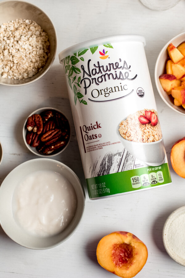 This easy, healthy, and delicious overnight oats recipe is the perfect meal prep breakfast! Creamy vanilla-scented oats swirled with fresh peaches, chia seeds, and collagen peptides for a protein-rich health-supportive breakfast.