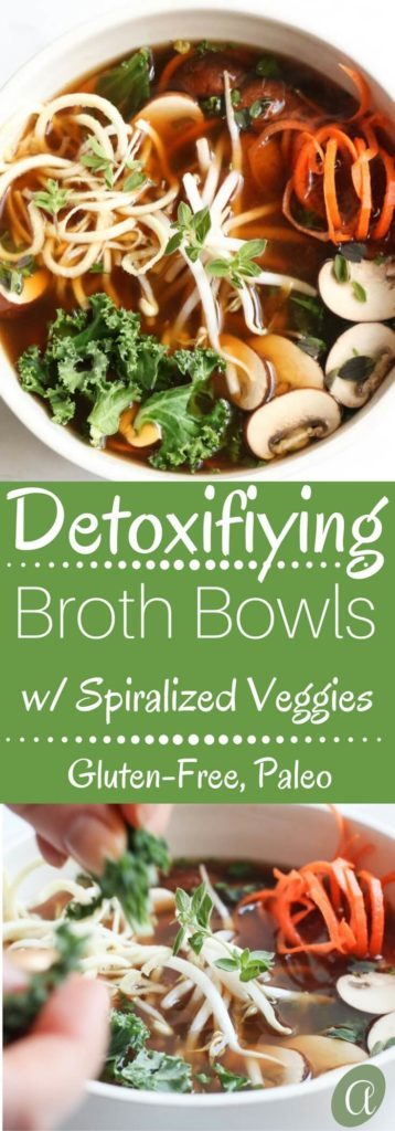 Detoxifying broth bowls with parsnip and carrot noodles is a paleo and gluten-free meal that is chocked full of anti-inflammatory, nutrient dense veggies. Healthy, quick, and super yummy!