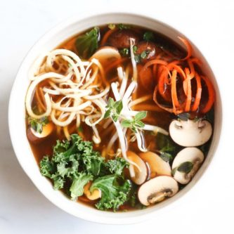 Detoxifying broth bowls with parsnip and carrot noodles is a paleo and gluten free meal that is chocked full of anti-inflammatory, nutrient dense veggies. Healthy, quick, and super yummy! abraskitchen.com