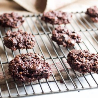 Perfectly soft and chewy chocolate cookies with tart dried cherries. Double Chocolate cherry quinoa cookies are perfectly soft and chewy chocolate cookies with tart dried cherries, almond butter, cooked quinoa, and dates. Gluten free, refined sugar-free, vegan, dairy free, flourless |abraskitchen.com