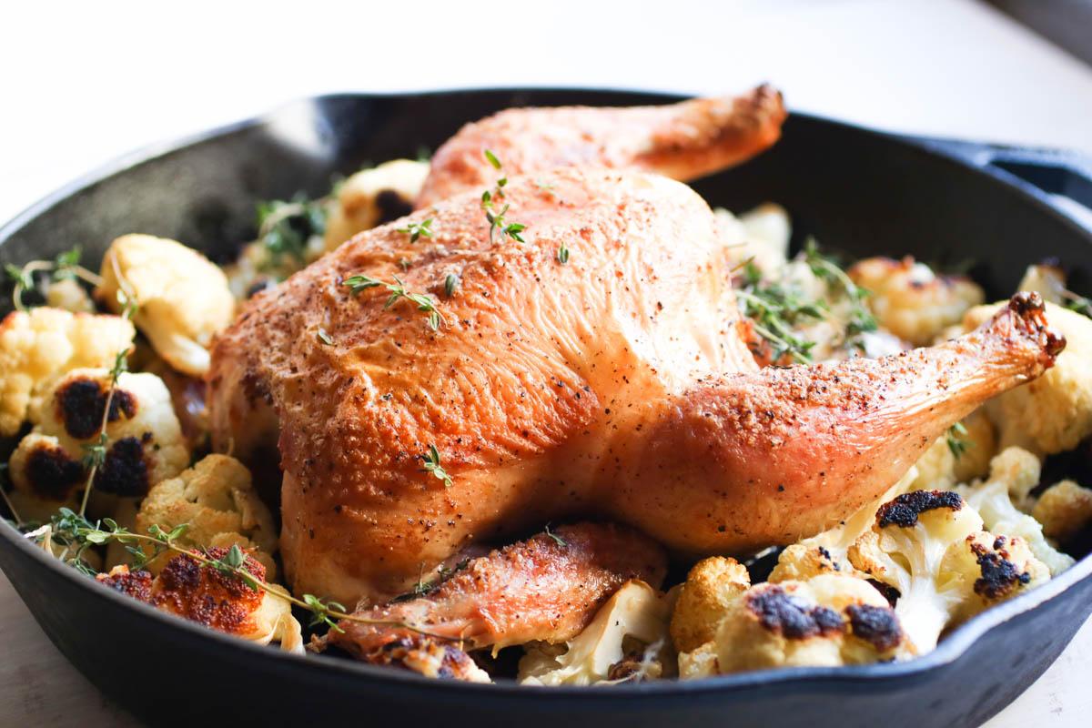 Easy Garlic Thyme Roast Chicken With Cauliflower Abra S Kitchen