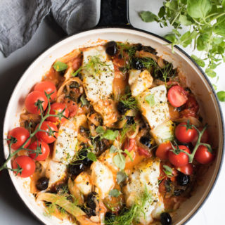 Easy One Pan Mediterranean Cod with Fennel, Kale, and Black Olives