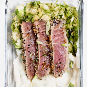 Everything Crusted Tuna Meal Prep Bowls with roasted Brussels sprouts and cauliflower puree. Paleo, Gluten Free, Easy lunch idea.