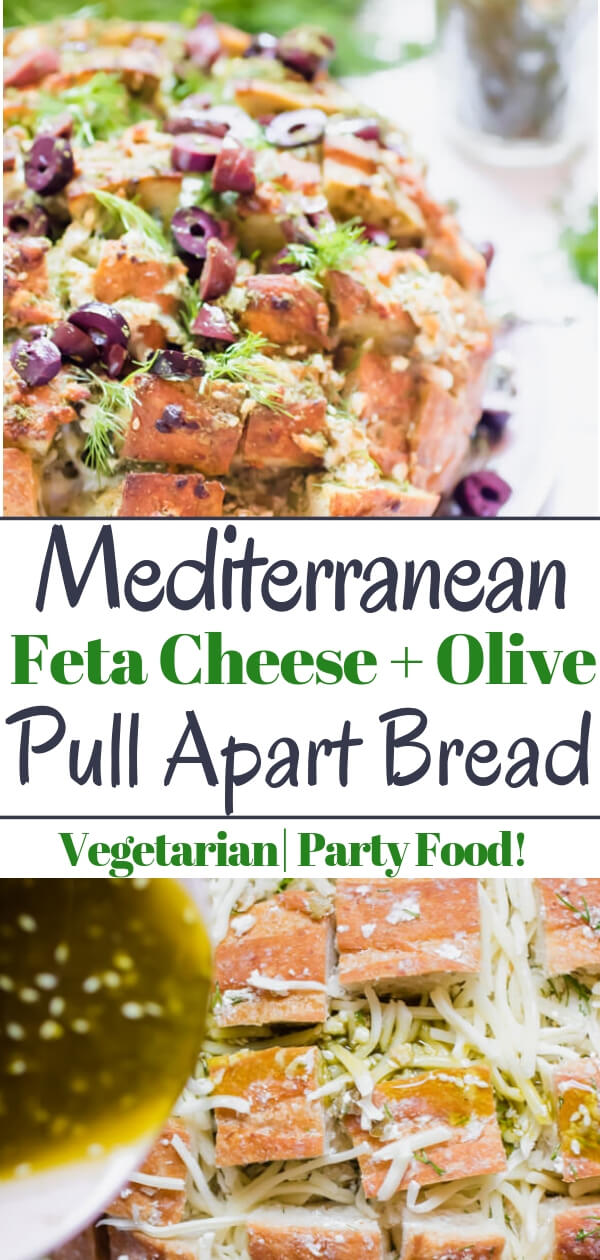 Feta Cheese and Olive Pull Apart bread, ooeygooey cheesy bread with briny salty olives, fresh herbs, and garlic. It is in all ways amazing! The perfect appetizer to serve to a large crowd. #vegetarian #pullapartbread #superbowlfood