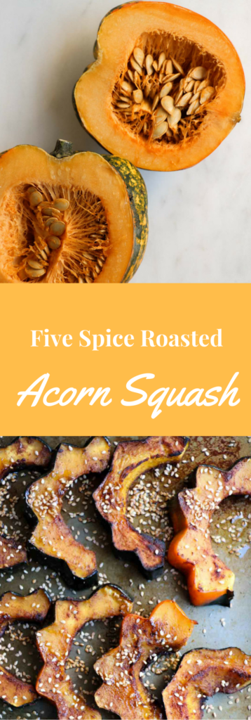 Five Spice Roasted Acorn Squash is a quick and healthy side dish kissed with the perfect fall spice blend and tossed with nutty sesame seeds. Gluten free, vegan, vegetarian| Abraskitchen.com