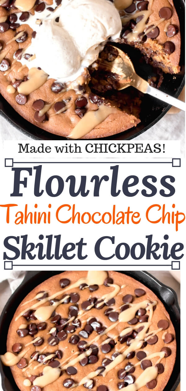 Gooey rich and decadent tahini chocolate chip cookie made in a skillet. A giant cookie that is sure to bring a smile to your face! Real food, gluten-free, no flour, or refined sugar.