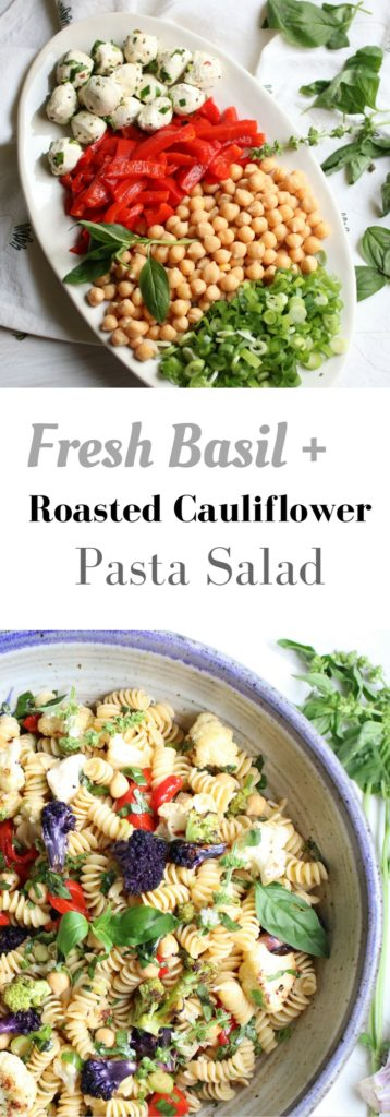 Fresh Basil and Roasted Cauliflower pasta salad. Roasted cauliflower, fresh mozzarella, chickpeas, roasted bell peppers, and tons of fresh basil. This is the easiest and healthiest vegetarian pasta salad. | abraskitchen.com