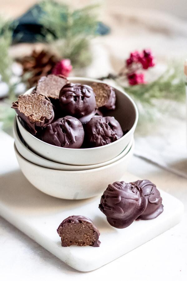 bowl of gingerbread truffles