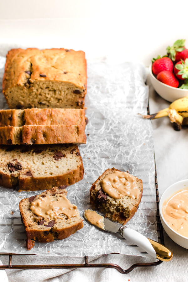 A super moist, decadently delicious gluten-free chocolate chip banana bread. The only banana bread recipe you will ever need! Made with almond flour and a dairy-free option included.