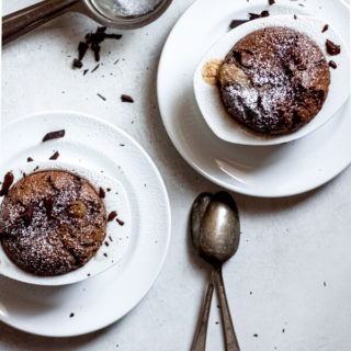 Chocolate Peanut Butter Lava Cakes in ramekins