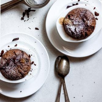 Chocolate Peanut Butter Lava Cakes in ramekins