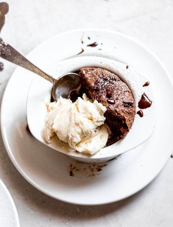 Chocolate Peanut Butter Lava Cakes Gluten Free with ice cream