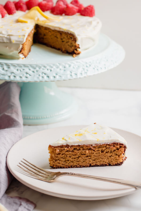 Rich, moist, and delicious gluten-free lemon cake with luscious lemon cream cheese frosting. Naturally gluten-free using a combination of almond and coconut flour and sweetened with coconut palm sugar.