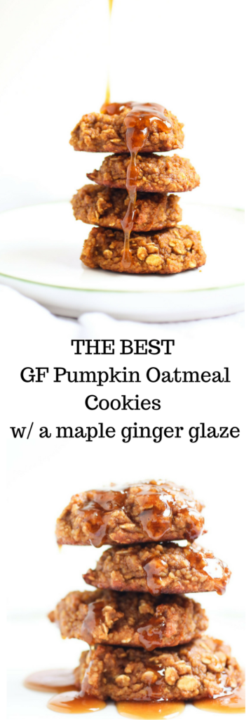 GF Pumpkin Oatmeal Cookies with a maple ginger glaze. Pumpkin, oats, almond butter, molasses, and maple syrup. Real food, Gluten-free. YUM!   abraskitchen.com