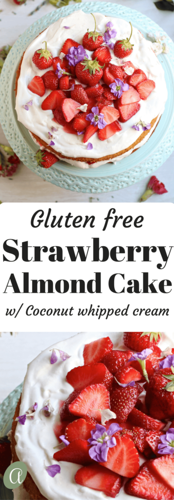 Gluten free strawberry almond cake is a light fluffy cake piled high with vegan whipped coconut cream and sweet fresh strawberries. Yum!