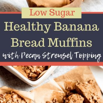 Healthy Banana Bread Muffins with Pecan Streusel Topping