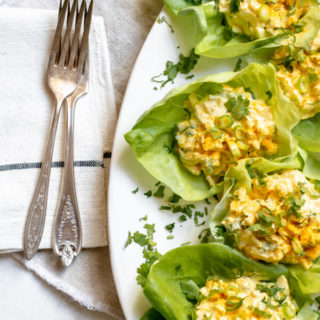 plate of Healthy Greek Yogurt Egg Salad with Turmeric in lettuce cups