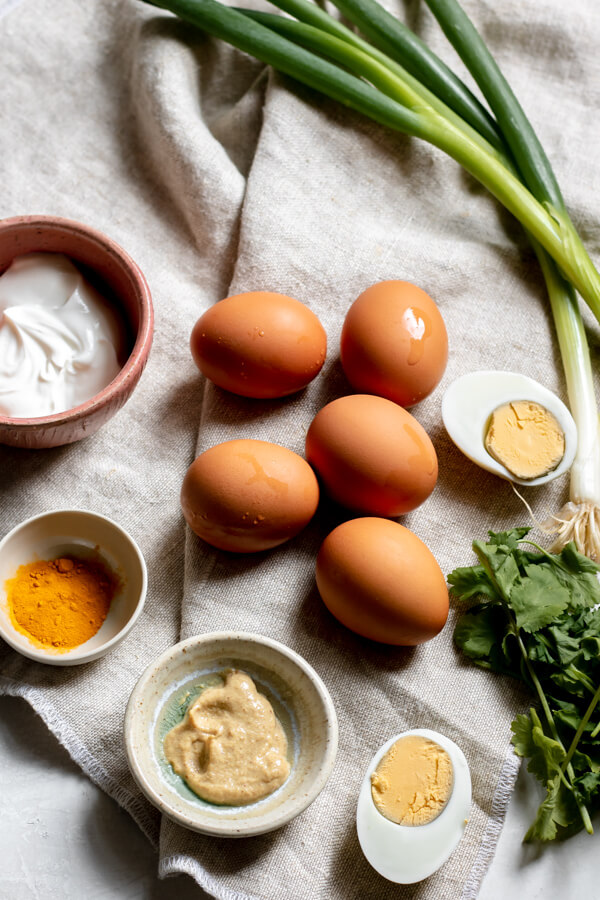 Ingredients for Healthy Greek Yogurt Egg Salad with Turmeric