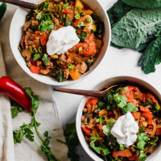 30 Minute Healthy Kale and Grass Fed Beef Chili