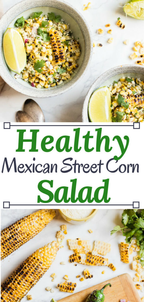 Perfectly charred corn and jalapeno tossed with cilantro, lime juice, red onion, and cheese. This healthy Mexican street corn salad recipe is easy to prepare with only 6 ingredients and is the perfect summer side dish or, with the addition of protein, is the perfect healthy lunch.